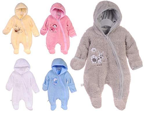 La Bortini Overall Baby Wagenanzug Frühling Übergangsanzug Anzug Fleece 50 56 62 68 74 UNI (grau, 50)