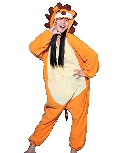 Kigurumi Adulto Costumi Animali per Carnevale Halloween o Spettacolo Party Show di Natale Pigiama Tuta da Cosplay Onesies Intimo Zoo Invernale Unisex da Donna e Uomo - S - Leone Arancione