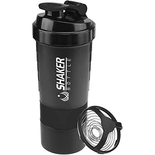 VIGIND Protein Shaker Bottle,Sports Water Bottle,Leak Proof Shake Bottle For Protein Mixer- Non Slip 3 Layer Twist Off 3oz Cups with Pill Tray - Protein Powder 16 oz Shake Cup with Storage,Black