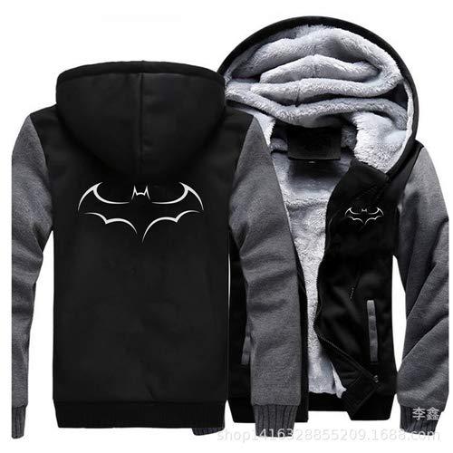 Sweatshirt Batman-Kostüm für Herren im Herbst und Winter, Kapuzenjacke und samtgepolsterter Reißverschlusspullover