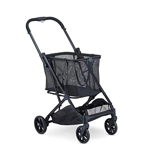 Joovy Boot Lightweight Shopping Cart with Reusable, Removable Shopping Bag with Compact Standing Fold, Black