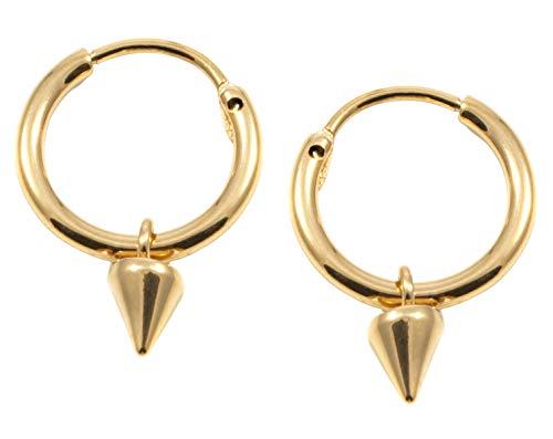 Happiness Boutique Damen Creolen mit Stachel in Goldfarbe | Kleine Runde Ohrringe Minimalist Schmuck
