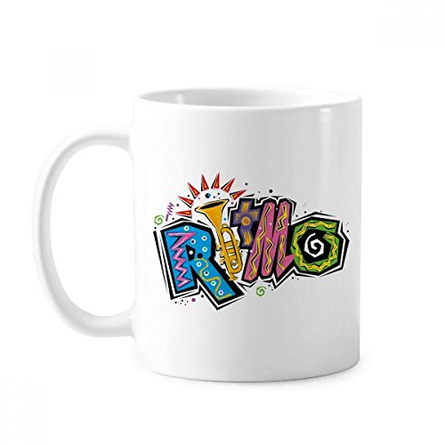 DIYthinker Mexico Cultuur Elment Veel Kleuren Ritmo Slogan Klassieke Mok Wit Aardewerk Keramische Cup Cadeau Melk Koffie Met Handvatten 350 Ml