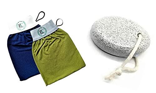 [Coffret] Deux (02) gants de gommage corps exfoliants (Kessa, level 2) et une (01) pierre ponce. Des techniques pour exfolier, éliminer les peaux mortes et nettoyer en profondeur