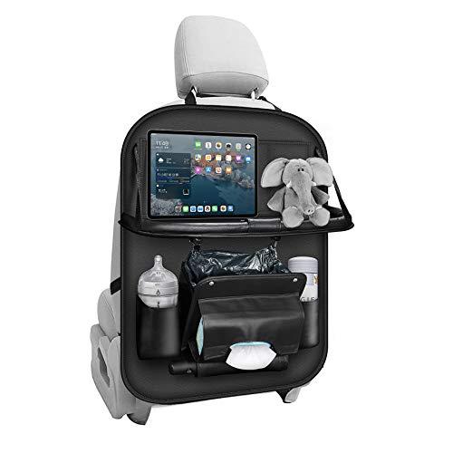 ACGAM Auto Rückenlehnenschutz Mit Klapptisch (Faltbar Auto Mülleimer) Autositz Rücksitz Organizer mit Tablet/Telefon Taschen für Kinder, Wasserdicht Kick-Matten-Schutz in universeller Passform