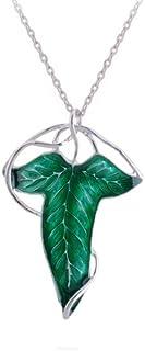 """Splendeur d'art - Collar con colgante y broche chapado en plata con diseño de hoja de elfo de """"El Señor..."""