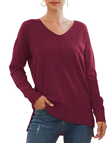 Jouica Womens Off Shoulder V Neck Sweater Long Sleeve Pullover Knit Tunic Tops,Wine Red,Medium