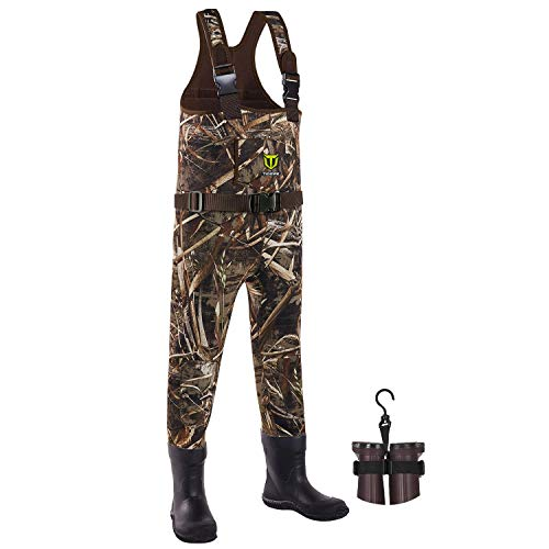 TIDEWE Chest Waders for Toddler & Children, Neoprene Waterproof Insulated Hunting & Fishing Youth Waders for Boy and Girl, Cleated Bootfoot Kids Wader, Realtree MAX5 Camo (Size 4)