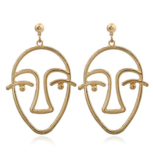 NA European and American jewelry female retro long exaggerated face earrings alloy mask hollow abstract stud earrings