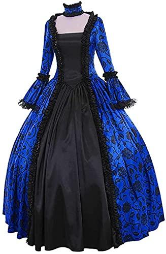 Babaseal Disfraz de popeln victoriano gtico con capucha Halloween Lolita bruja lindo vestido de cosplay, Azul / Patchwork, Medium