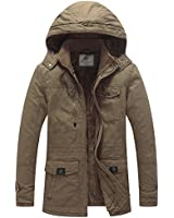 WenVen Men's Winter Thicken Cotton Parka Jacket with Removable Hood Khaki L