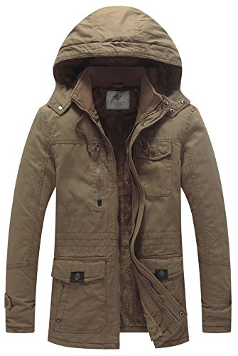 WenVen Men's Winter Insulated Cotton Hooded Fleece Parka Jacket Khaki L