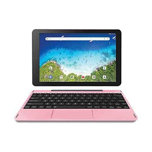 "Newest Premium High Performance RCA Viking Pro 10.1"" 2-in-1 Touchscreen Laptop Computer Tablet Quad-Core 1G Memory 32GB Hard Drive Detachable-Keyboard Android 8.1 (Pink)"