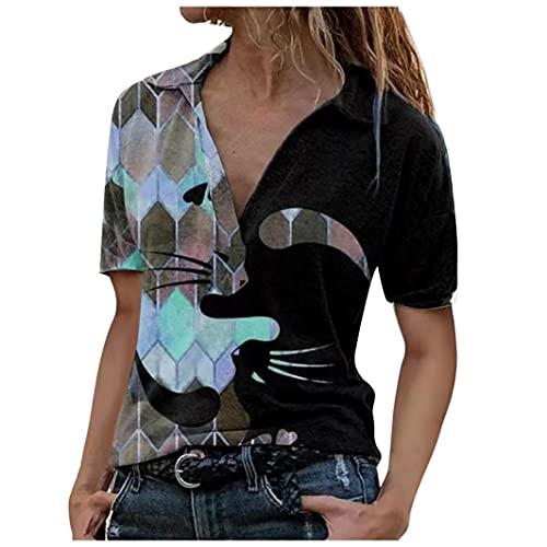 Camiseta de manga corta para mujer, estilo retro, con estampado de solapa, informal, para vacaciones, al aire libre, entretenimiento personal, para fiestas, uso en la calle azul XL