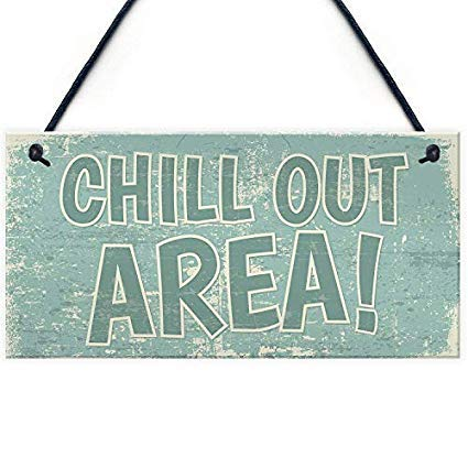 SIGNS 15x33cm Chill Out Area Hot Tub Man Cave Shed Summer House Garden Hanging Wall Art Wall Art Wood Funny for Living Room Bedroom Decoration