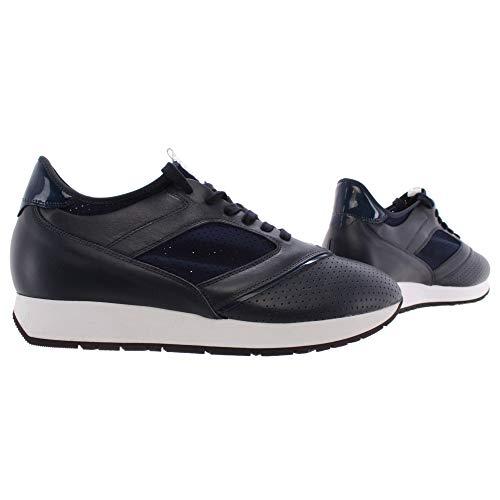 Scarpe Uomo Sneakers BIKKEMBERGS BKE 108692 Runner Leather Lycra Blu Italy Nuove