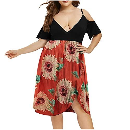 AMhomely Vestido de mujer para mujer, talla grande, con cuello en V, estampado floral, manga corta, estilo bohemio, vestido de fiesta, talla Reino Unido, vestidos de noche, trabajo, vestido maxi