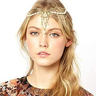 Aluinn Wedding Crystal Headpiece Boho Charm Gold Head Chain Beaded Hair Jewelry for Women and Teen Girls