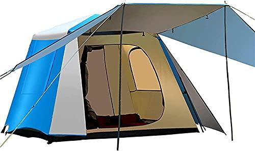 Chuen pulmonar Pop Up Tent Beach Tent Tents para acampar Camping Automatic Camping Camping, con porche, protección UV, Tienda impermeable, Tienda de doble capa de 2 puertas y 2 paneles para jardín Pla