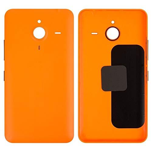 Cover posteriore per batteria compatibile con Microsoft (Nokia) 640 XL Lumia Dual SIM (arancione, con pulsante laterale)