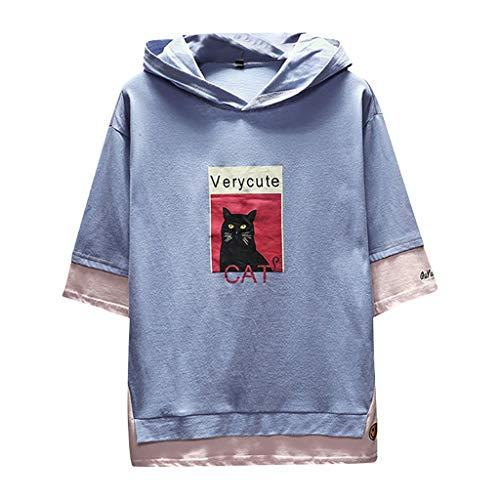 Xmiral T-Shirt Herren Hoodie Halber Ärmel Gedruckte Patchwork Gefälschter Zweiteiliger Tops Mit Kapuze Slim Fit Poloshirt Hemde Lose Bluse Polohemd(a Blau,3XL)