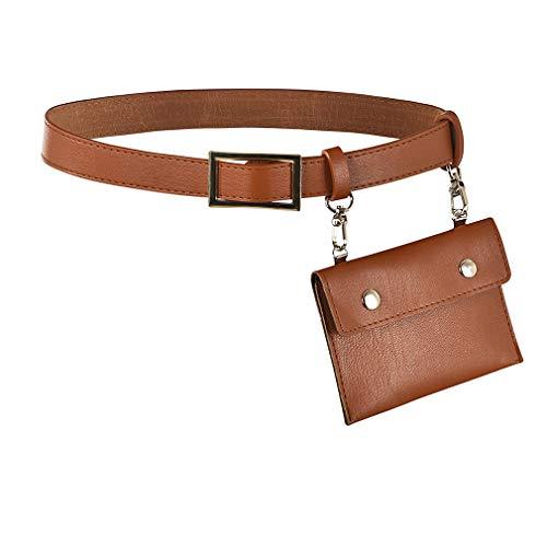 Pinhan Women Fanny Packs Hüfttasche Tasche mit abnehmbarem Ledergürtel, braun
