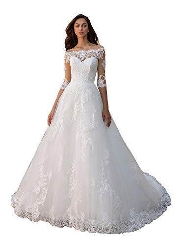 Clothfun Off Shoulder Lace Wedding Dresses for Bride 2020 Bridal Gowns with Sleeves Style1 Ivory 02