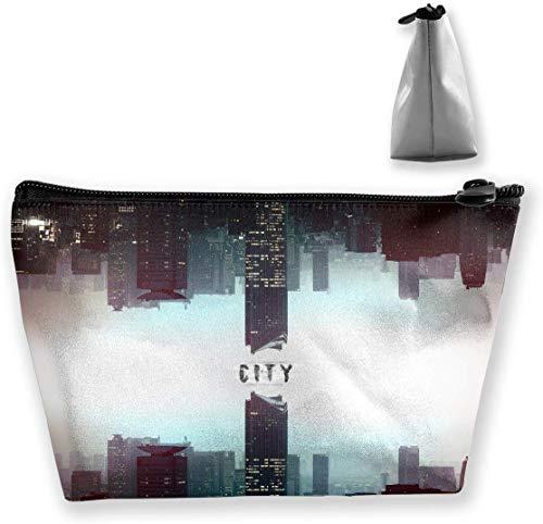 Make-up-Tasche Trapezförmiger Aufbewahrungsbeutel City Skyscraper Abstract Kosmetische Multifunktions-Make-up-Etuis Reise-Kulturbeutel