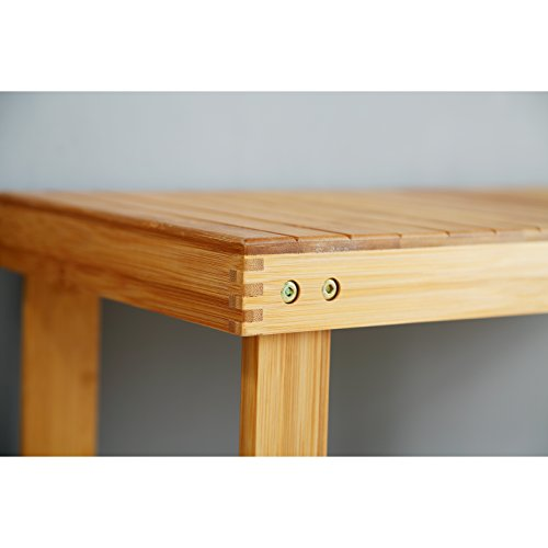 """Mosa Natural Bamboo Entryway Bench (27.6"""" X 11.2"""" X 17.9"""") Hallway Wood Shoe Bench Wooden Shoe Rack for Bedroom"""