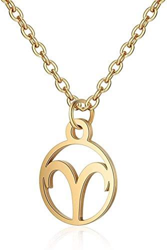 SHIERSHIYI Collar de Moda 12 Constelación Estrella Collar de declaración Joyería Femenina de Acero Inoxidable Zodiaco Astrología Oro Leo Cáncer Bebé Mujeres Collares