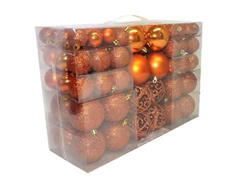Geschenkestadl 100 teilig Weihnachtskugel Christbaumschmuck bis Ø 6 cm Orange Kupfer