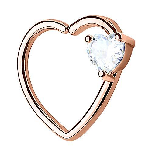 Piercingfaktor Continuous Piercing Ring Herz mit Kristall Stein für Tragus Helix Ohr Cartilage Knorpel Ohrpiercing Rosegold Links