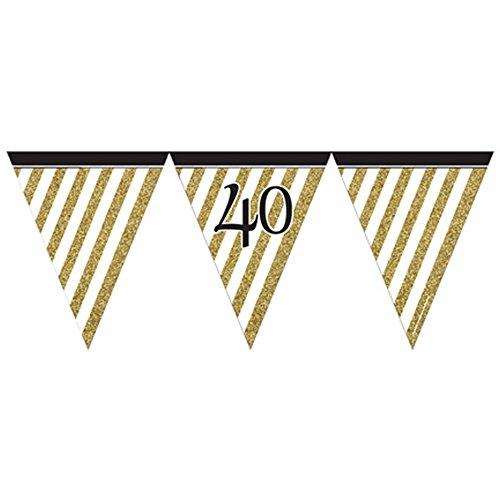 Generique - M273 Bannière en papier à rayures dorées et noires 50 fanions
