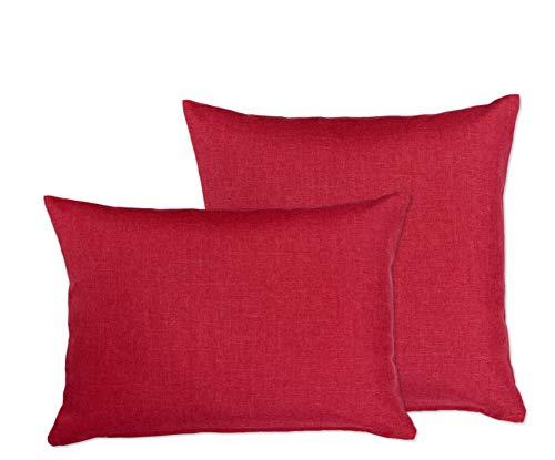 Fundas de almohada (2 unidades, color a elegir, aspecto de lino, impermeable, 40 x 60 cm, Beautex, tejido, burdeos, 40 x 40 cm