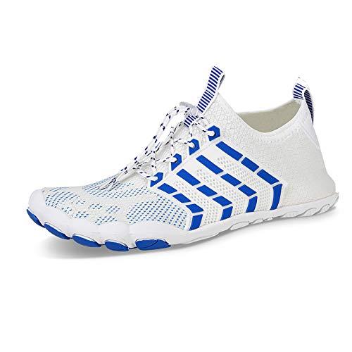 Zapatos de Agua Hombre Mujer Secado Rápido Antideslizante Adulto Senderismo Buceo Surf Zapatos de Playa para Ejercicio Acuático(Jt.Blanco Azul,44 EU)