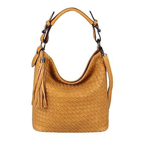 OBC Damen Flecht Tasche Handtasche Shopper Leder Optik Schultertasche Hobo-Bag Cross-Over Umhängetasche Damentasche Gelb