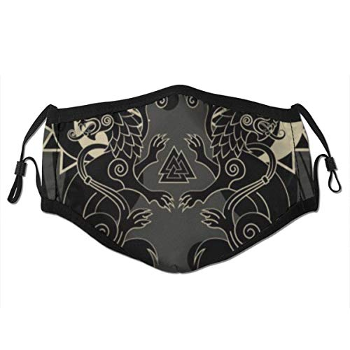 Axtuxdell Face Cover Asgard Two Wolves Norse Mythology Hati Skoll Valknut Asatru Vintage Black White Celtic Balaclava Unisex Reusable Windproof Anti-Dust Mouth Bandanas with 2 Filters for Teen Men Women