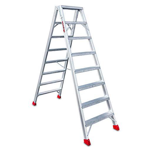 Faraone - Escalera de Tijera NDS 08 - Escalera 8+8 peldaños - 193x61x16cm - Escalera de Doble Subida - Peldaño Ancho - Escalera de Aluminio - Máxima seguridad - Fácil Transporte