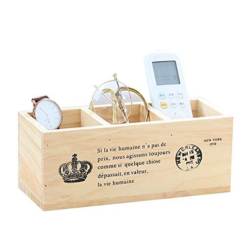 WQMA Caja De Madera Vintage Rectangular De Madera Maciza con Tres Compartimentos Portabolígrafos Organizador De Escritorio Mando A Distancia De Madera Almacenamiento Y Organización,Plata
