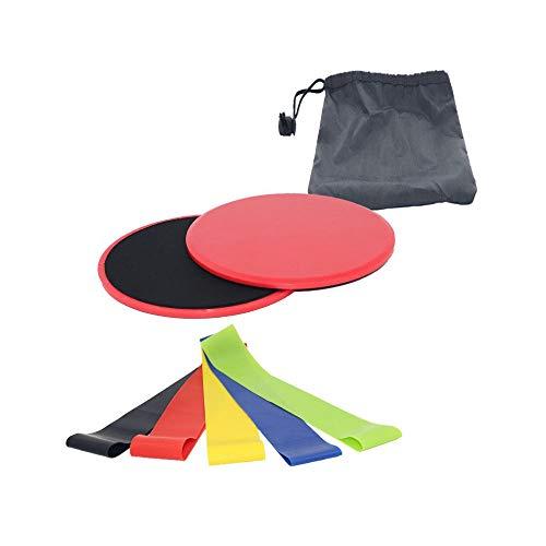 ZQSM Widerstandsübungsbänder Core Slider, doppelseitige Gleitscheiben für Bauchkraft, Bauchmuskeln, Hüfte, Pilates und Fettverbrennung. (RED)