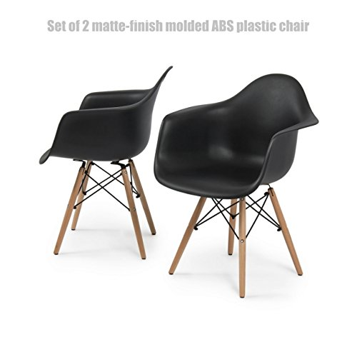 Modern Molded ABS Plastic Dining Chair Wooden Dowel Legs Posture Support Backrest Design Innovative Side Chair - Set of 2 Black Seat Wooden legs #1440
