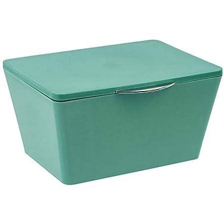 WENKO Boîte de rangement avec couvercle Brasil vert - Panier de rangement, panier de salle de bain avec couvercle, Plastique (TPE), 19 x 10 x 15.5 cm, Vert