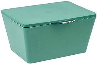 WENKO Boîte de rangement avec couvercle Brasil vert - Panier de rangement, panier de salle de bain avec couvercle, Plastiq...