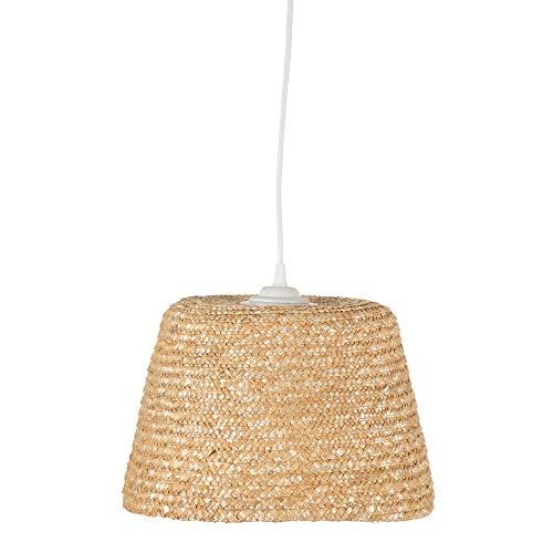 Lámpara de techo pantalla trenzada exótico fibra natural beige, de Ø 30x18 cm - LOLAhome