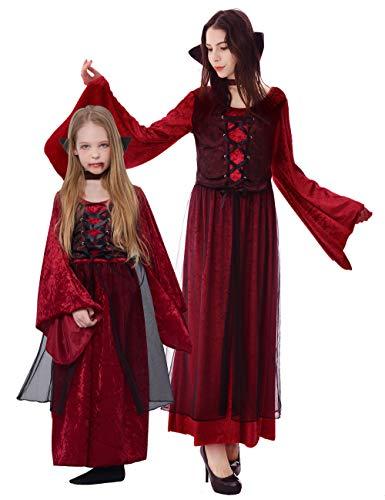 IKALI Vampir Kostüm Kinder Mädchen, Gothic Kurz Königin Kapuzen Robe mit Kragen für Halloween