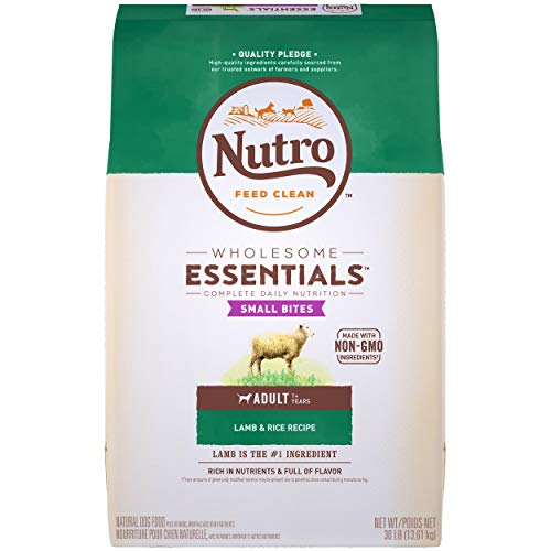 NUTRO WHOLESOME ESSENTIALS Adult Small Bites Natural Dry Dog Food Small Kibble Lamb & Rice Recipe, 30 lb. Bag