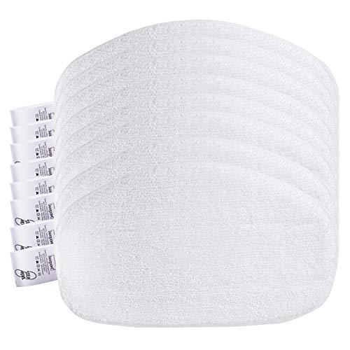 KEEPOW 8 Ersatzpads für Leifheit Dampfreiniger CleanTenso, Dampfbesen Wischbezug für eine porentiefe Reinigung, Dampfmop Ersatz mit Klettunterseite, White