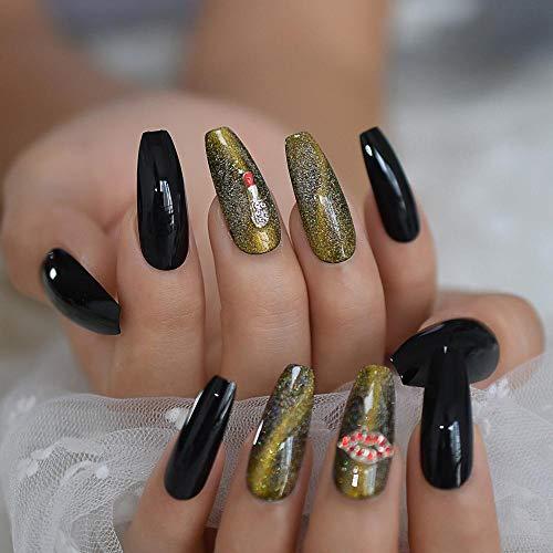 CSCH Faux ongles Lèvres rouges 3D bijou cercueil ballerine faux faux ongles yeux de chat presse longue doigt carré porter des étoiles mousseux étoilé petit style noir