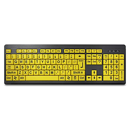 TANIX Large Print Computer Keyboard Wired USB Keyboard Big Print Letter with Yellow Keys High Contrast Yellow Keyboard Makes Type Easy