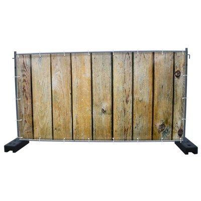 (Mesh) Holzwand B6 Bauzaunbanner, Sichtschutz, Windschutz, Zaunblende, Festival Banner, 340 x 173 cm, DRUCKUNDSO